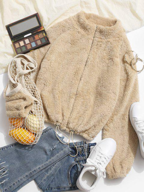Toggle Drawstring Zip Up Fluffy Jacket - القهوة الخفيفة S Mobile