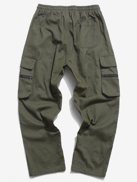 Pantalones de Carga Rectos de Cremallera de Bolsillo - Ejercito Verde 2XL Mobile