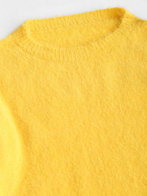 ladies Fuzzy Knit Fitted Two Piece Dress - YELLOW S Mobile