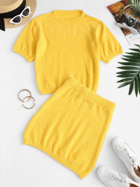 Vestido justo de duas peças - Amarelo S Mobile