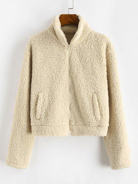 ZAFUL Full Zip Faux Pocket Faux Shearling Coat - مشمش L Mobile