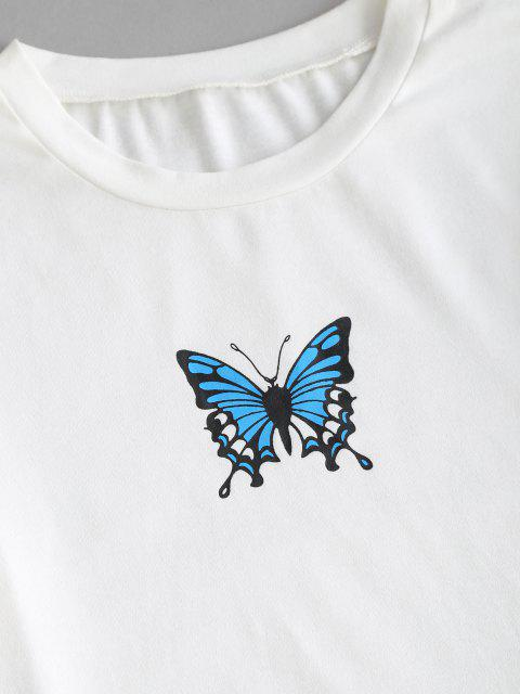 outfit ZAFUL Lettuce Butterfly Graphic Slim Short Tee - WHITE M Mobile