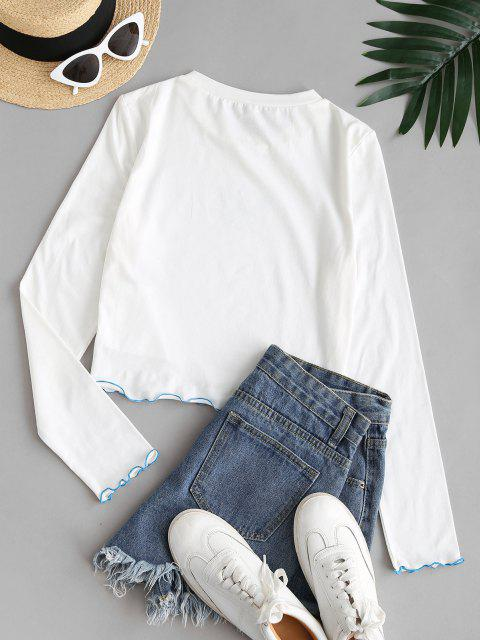 ZAFUL T-shirt Court Moulant Papillon Graphique à Ourlet en Laitue - Blanc M Mobile