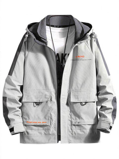 レタープリントコントラストパッチラグランスリーブフードジャケット - ライトグレー XS Mobile