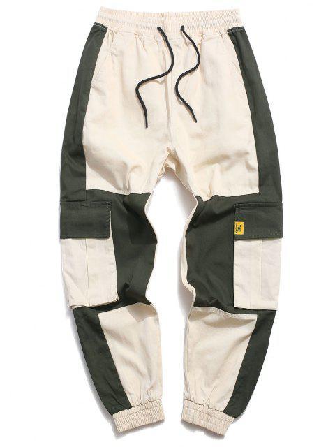new Color Blocking Panel Pockets Cargo Pants - KHAKI XS Mobile