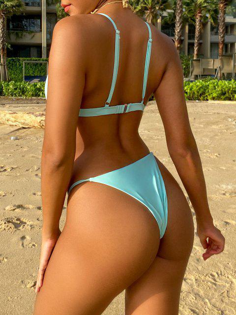 Traje de Bikini con Escote Pico con Cordón con Relleno - Azul claro L Mobile