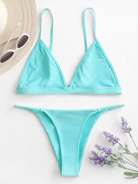 Traje de Bikini con Escote Pico con Cordón con Relleno - Azul claro S Mobile