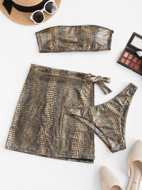 online ZAFUL Metallic Snakeskin Bandeau Three Piece Bikini Swimwear - GOLDEN M Mobile
