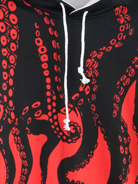 hot Flocking Octopus Print Streetwear Hoodie - RED 4XL Mobile