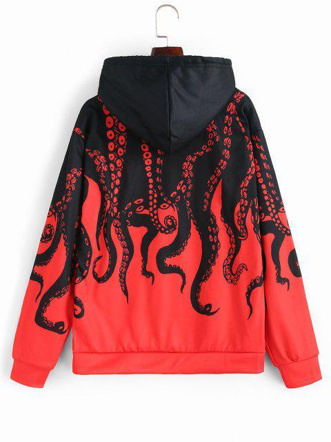 sale Flocking Octopus Print Streetwear Hoodie - RED XL Mobile