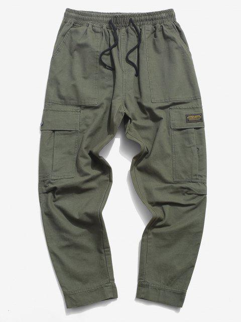 affordable Letter Applique Hoop and Loop Detail Cargo Pants - ARMY GREEN XS Mobile