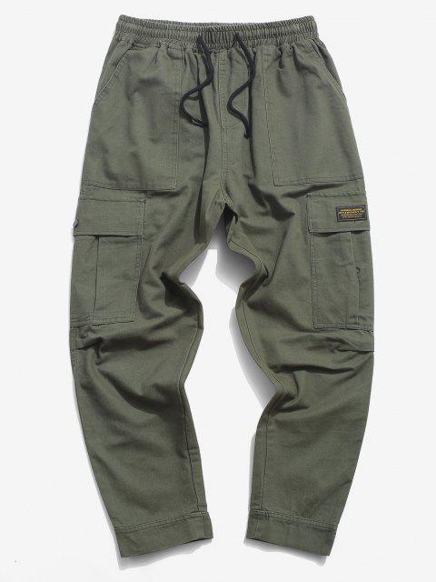 Pantalones de Carga con Aplicación de Letras y Pantalones de Detalle de Cordón - Ejercito Verde XS Mobile