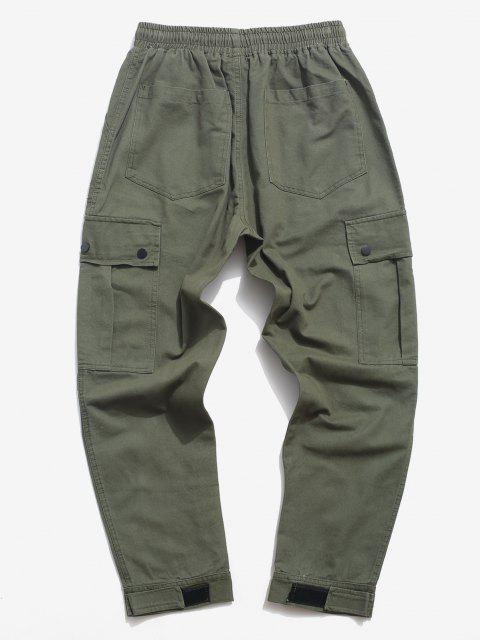 buy Letter Applique Hoop and Loop Detail Cargo Pants - ARMY GREEN S Mobile