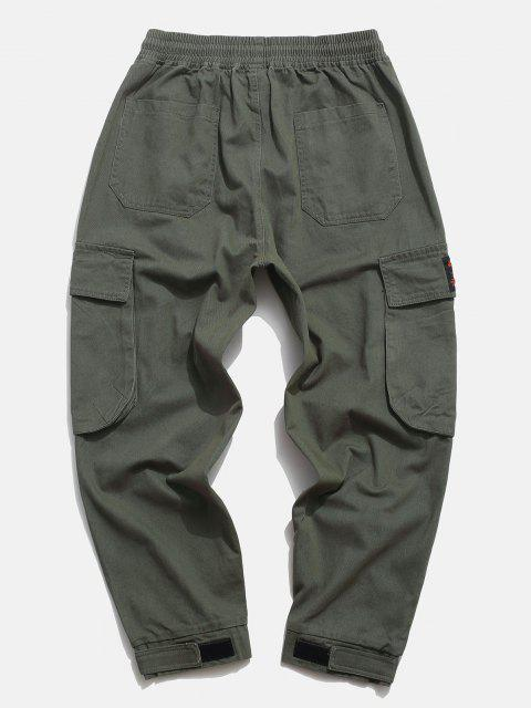 womens Flap Pocket Applique Solid Cargo Pants - ARMY GREEN S Mobile