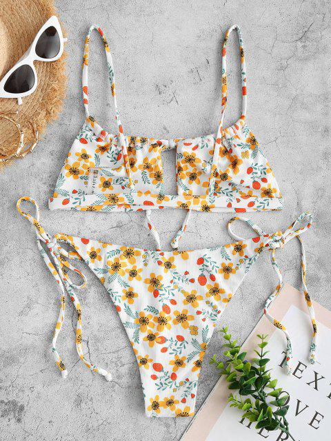 ZAFUL Bikini Recortado de Cadena Acanalado con Estampado de Flor - Blanco S Mobile