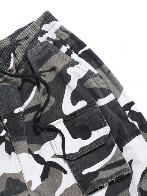 Pantalones Casual Bolsillos y Estampado Letras - ACU Camuflaje M Mobile