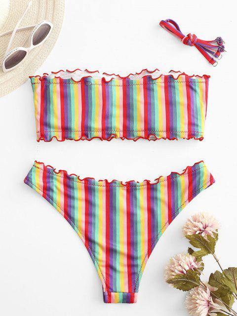 best ZAFUL Lettuce Trim Ribbed Rainbow Stripes Bikini Swimwear - RED L Mobile