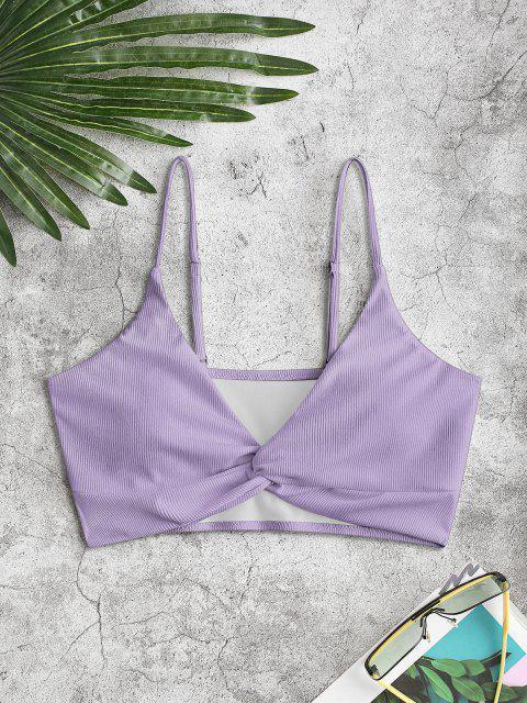 ZAFUL Haut de Bikini Plongeant Côtelé Tordu en Avant - Violet clair 2XL Mobile