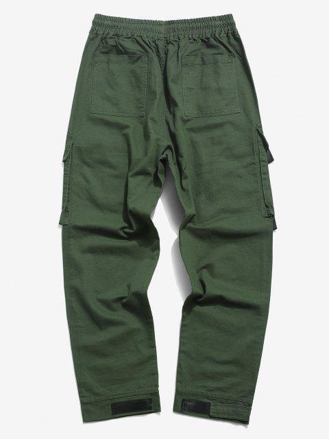 Pantalones de Carga con Estampado de Letras de Gancho y Cordón - Ejercito Verde XS Mobile