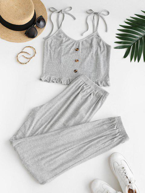 chic ZAFUL Ribbed Tie Shoulder Lettuce Two Piece Pants Set - LIGHT GRAY M Mobile
