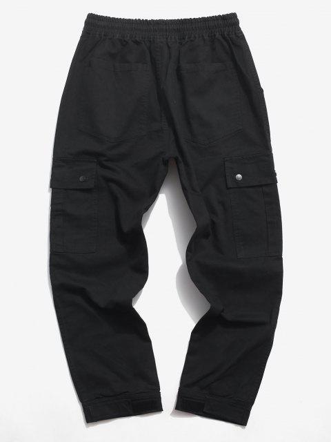 Pantalones de Carga con Aplicación de Letras y Pantalones de Detalle de Cordón - Negro XS Mobile