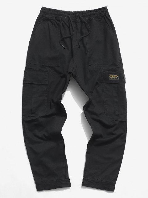 Pantalones de Carga con Aplicación de Letras y Pantalones de Detalle de Cordón - Negro L Mobile