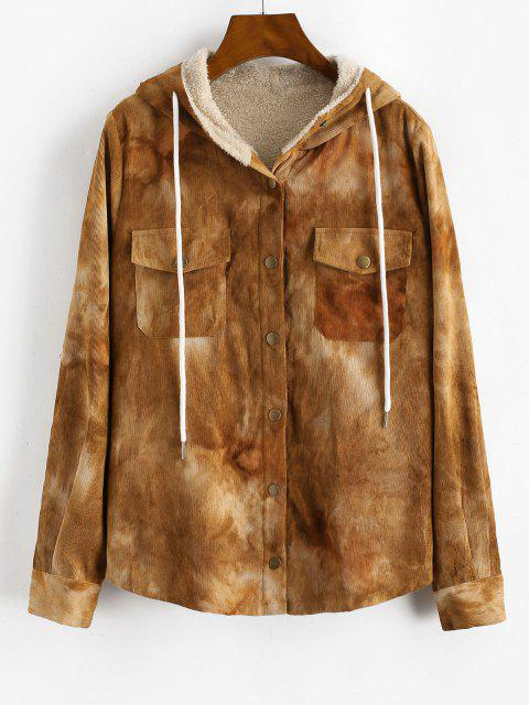 ZAFUL Tie Dye Corduroy Fleece Lined Jacket - أسمر S Mobile