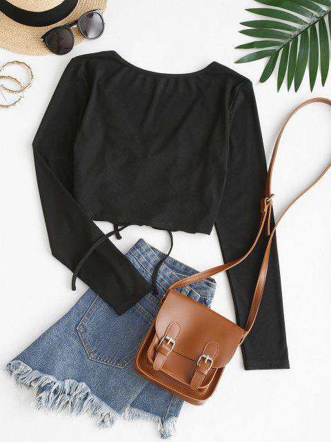 chic ZAFUL Ribbed Plunge Tie Crop Tee - BLACK L Mobile