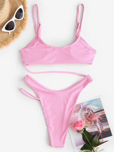 online ZAFUL Ribbed Thong High Cut Monokini Swimsuit - LIGHT PINK S Mobile