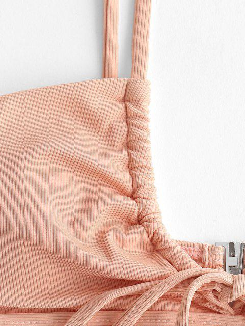 trendy ZAFUL Ribbed Drawstring String Bikini Swimwear - LIGHT ORANGE S Mobile