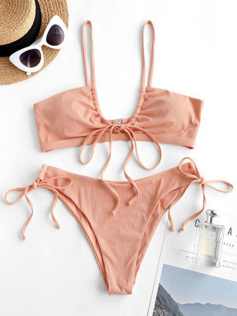 chic ZAFUL Ribbed Drawstring String Bikini Swimwear - LIGHT ORANGE L Mobile