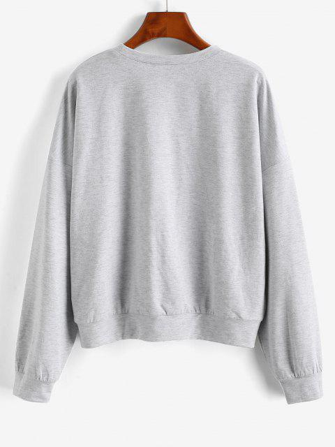 ZAFUL Sweat-shirt Papillon à Goutte Epaule - Gris Clair XL Mobile