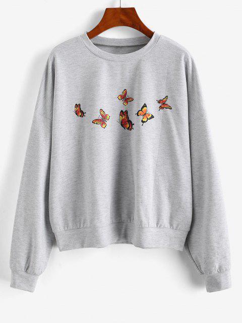 women ZAFUL Drop Shoulder Marled Butterfly Sweatshirt - LIGHT GRAY XL Mobile