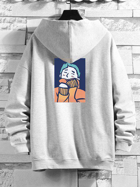 unique Cartoon Man Print Drop Shoulder Hooded Jacket - PLATINUM 3XL Mobile