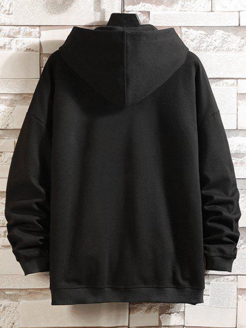 Veste à Capuche Lettre Graphique Imprimée Zippée - Noir 4XL Mobile