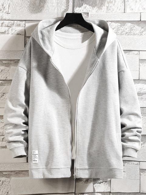 buy Letter Graphic Print Zip Up Hoodie Jacket - PLATINUM M Mobile