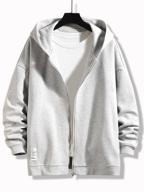trendy Letter Graphic Print Zip Up Hoodie Jacket - PLATINUM XL Mobile