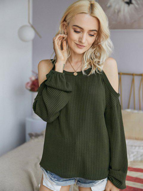 latest Honeycomb Knit Open Shoulder Knitwear - GREEN S Mobile