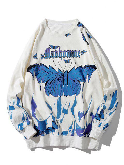 Sweat-shirt Lettre Papillon Peinture à Goutte Epaule - Blanc 4XL Mobile