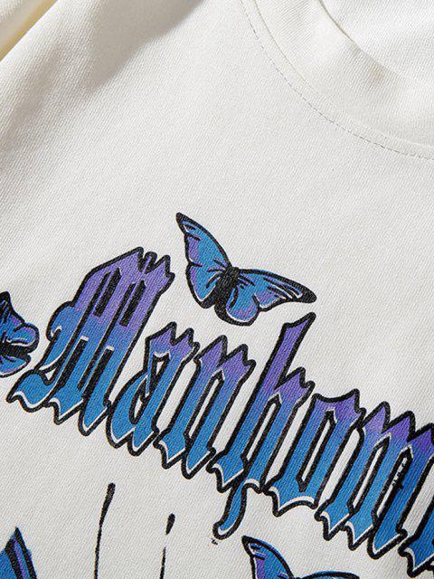 buy Letter Butterfly Paint Drop Shoulder Sweatshirt - WHITE 4XL Mobile