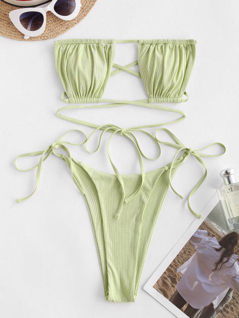 ZAFUL Bikini Bandeau Recortado con Lazo Lateral - Verde L Mobile