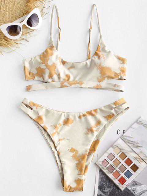 ZAFUL Maillot de Bain Bikini Teinté Découpé - Deep Yellow L Mobile