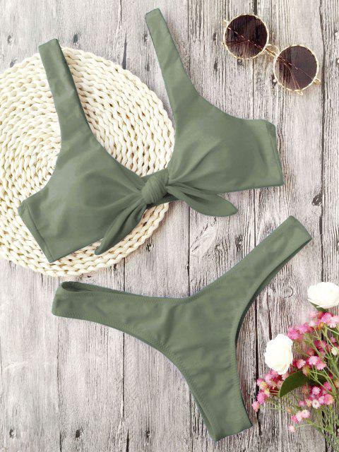 affordable Scrunch Butt Knotted Thong Bikini - ARMY GREEN M Mobile