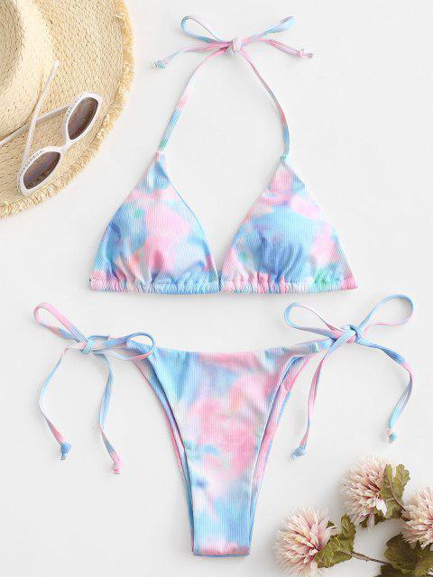 fancy ZAFUL Tie Dye Ribbed Halter String Bikini Swimwear - LIGHT BLUE S Mobile