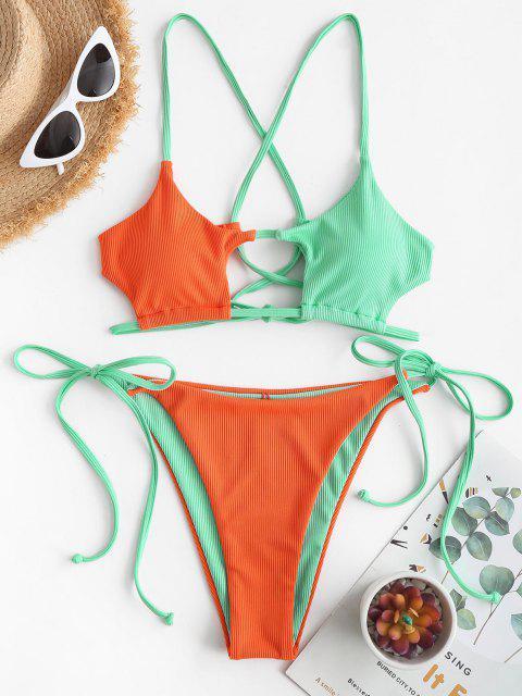 ZAFUL Bikini Recortado de Cadena con Bloqueo de Color - Naranja Oscuro S Mobile