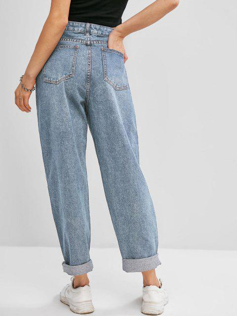 online Pockets Bleach Wash Paperbag Jeans - LIGHT BLUE S Mobile