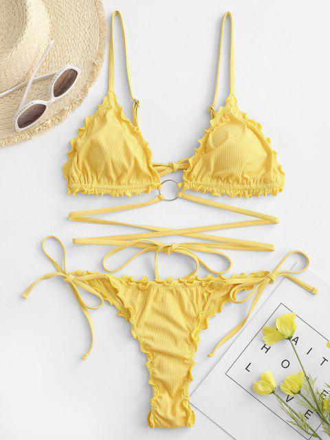 sale ZAFUL Lettuce Trim Wrap-around O Ring Ribbed String Bikini Swimwear - YELLOW S Mobile