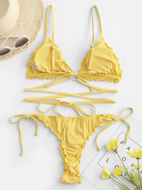 buy ZAFUL Lettuce Trim Wrap-around O Ring Ribbed String Bikini Swimwear - YELLOW L Mobile