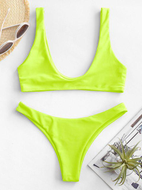 fashion High Cut Bikini Set - NEON YELLOW L Mobile