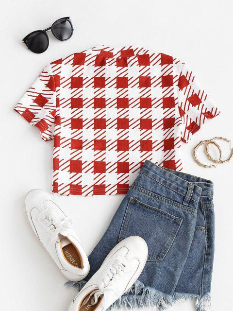 latest ZAFUL Plaid Crew Neck Textured Crop Tee - MULTI-A S Mobile